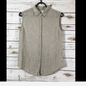 UNIQLO Beige Linen Sleeveless Button Down Shirt XS